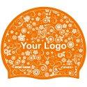 Bonnet de bain imprimé en silicone Orange, Recto-verso