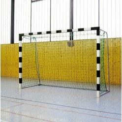Sport-Thieme® Hallenhandballtor 3x2 m, in Bodenhülsen stehend Schwarz-Silber Verschraubte Eckverbindungen