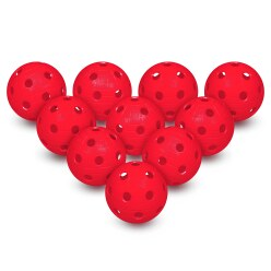Lot de 10 balles d'unihockey Rouge