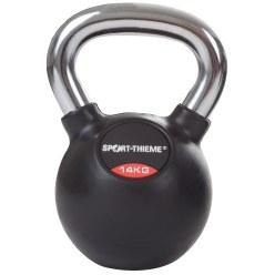 Kettlebell Sport-Thieme caoutchoutée avec poignée en chrome lisse