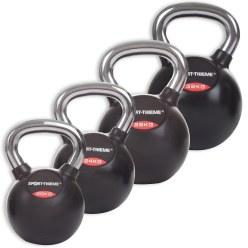 Kettlebell Sport-Thieme Lot de kettlebells caoutchoutées avec poignée chrome lisse