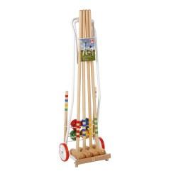 Jeu de croquet en bois avec chariot