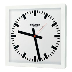 Peweta® Grossraum-Wanduhr 40x40 cm, Netzbetrieb 230 V Standard, Zifferblatt arabische Zahlen