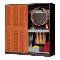 Sportgeräteschrank, HxBxT 195x200x60 cm, mit Lochblech-Schiebetüren (Typ 5) Lichtgrau (RAL 7035), Lichtgrau (RAL 7035)
