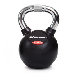 Sport-Thieme® Kettlebell gummiert mit gerändeltem Chrom-Griff