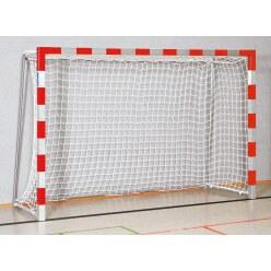 Sport-Thieme® Hallenhandballtor  3x2 m, in Bodenhülsen stehend Schwarz-Silber, Verschraubte Eckverbindungen