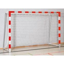 Sport-Thieme® Hallenhandballtor 3x2 m, in Bodenhülsen stehend Rot-Silber Verschraubte Eckverbindungen