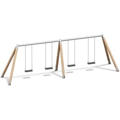 Playparc Vierfachschaukel Holz/Metall