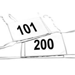 Satz Doppel-Startnummern, Weiss, Nr. 101-200