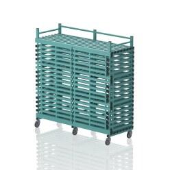 """Regalwagen aus Kunststoff """"12 Fächer"""" Aqua"""