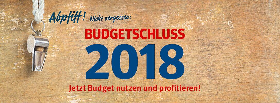Budgetschluss 2018 - Jetzt Budget nutzen & profitieren