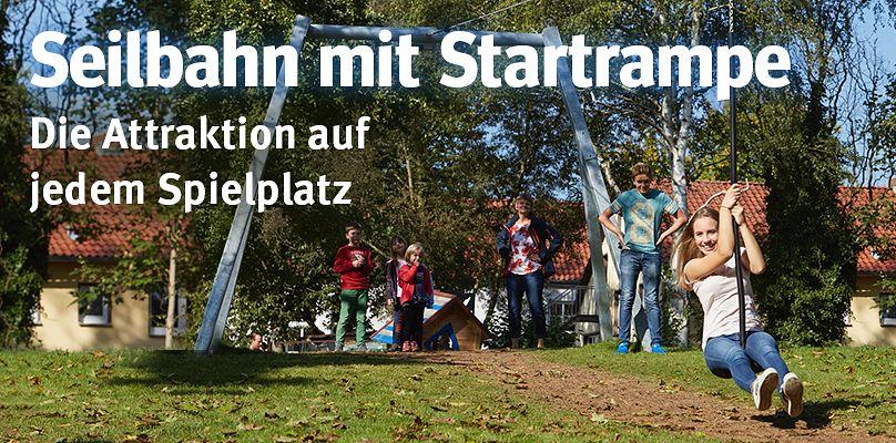Seilbahn mit Startrampe - Die Attraktion auf jedem Spielplatz